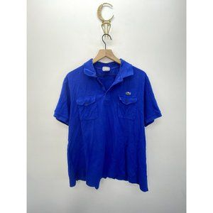 Lacoste Short Sleeve Solid Polo Shirt Blue Size 7